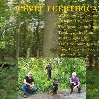 Pepite en Truus slagen voor GAK 9 Level 1 mantrailexamen